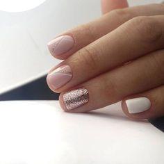 Pink and white nails Love Nails, Pink Nails, How To Do Nails, My Nails, White Nails, Wall Nails, Shellac Nails, Nail Manicure, Bright Nail Designs