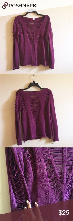 Maroon Distressed Sweater Cool maroon distressed sweater in great condition! Used gently. Loose fit. Size Small. H&M Sweaters