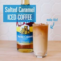 Salted caramel is one of my favorite flavors of Torani syrup! Salted Caramel Iced Coffee // Made with Torani Ninja Coffee Bar Recipes, Torani Syrup, Iced Coffee Drinks, Iced Tea, Coffee Menu, Coffee Poster, How To Make Ice Coffee, Keto Drink, Smoothie Drinks