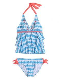 Embellished Stripe Tankini Swimsuit
