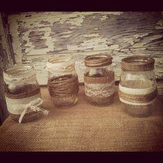 12 Burlap & Lace Mason Jar Centerpieces by DownInTheBoondocks, $70.00