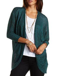 Crochet Back Cocoon Cardigan: Charlotte Russe