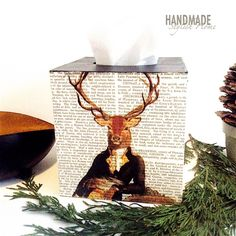 new tissue box collection. the first one is the vintage stag, human stage on the background of a newspaper, wooden tissue box cover, kleenex box holder handmadestylishhome.etsy.com