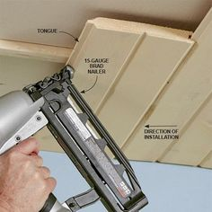Installing tongue-and-groove (aka T&G) boards is a fast, inexpensive way to panel any ceiling or wall. You can install T&G over bare framing, drywall or plaster, so it's a great cover-up for an ugly ceiling. Wood Plank Ceiling, Shiplap Ceiling, Porch Ceiling, Wood Ceilings, Ceiling Tiles, Wood Planks, Ceiling Design, Tongue And Groove Ceiling, Plafond Design