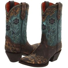Dan Post Blue Bird (Sanded Copper/Turquoise Blue Bird) Cowboy Boots ($275) ❤ liked on Polyvore featuring shoes, boots, shoes - boots, mid-calf boots, blue boots, pull on boots, blue cowgirl boots, mid calf cowboy boots and turquoise western boots