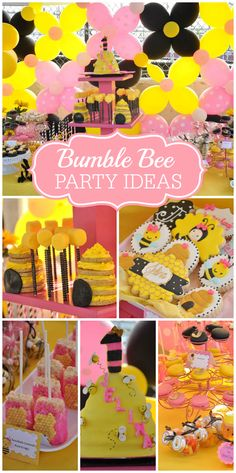 A pink, black and yellow Bumble Bee 1st BeeDay Party with amazing decorations and treats!  See more party planning idea at CatchMyParty.com!