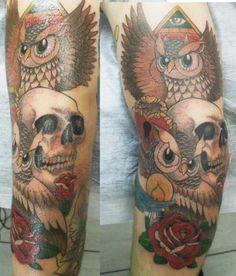 Owls and skulls #tattoo