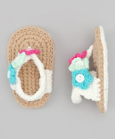 White & Tan Crochet Flip-Flop   http://www.zulily.com/invite/jpalmer893/p/tan-and-white-crochet-non-walker-sandal-22631-1988823.html?tid=referral_pinterest