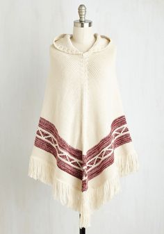 Colca Canyon Poncho. The most ethereal of scenery has nothing on you as you travel from gorges to grocers adorned in this exquisitely knit poncho. #cream #modcloth