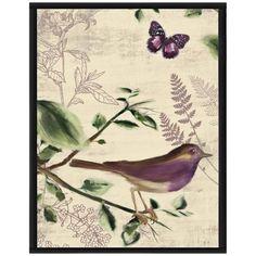 "Love Birds I 16 1/2"" High Framed Giclee Wall Art -"