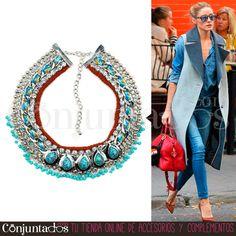 Un ideal #collar de #estilo #étnico que querrás tener. Una pieza atrevida para mujeres modernas, perfecto tanto para #outfits diarios de trabajo como de fines de semana ★ ¡#REBAJAS! en http://www.conjuntados.com/es/collar-plateado-con-lagrimas-y-abalorios-turquesas.html ★ #novedades #necklace #conjuntados #conjuntada #joyitas #jewelry #bisutería #bijoux #accesorios #complementos #sales #discounts #ofertas #soldes #moda #fashion #style #GustosParaTodas #ParaTodosLosGustos
