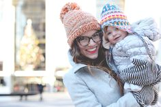 Naomi Davis (of the Rockstar Diaries blog) has the most adorable winter tangerine hat! (and baby girl, too!) #PinPantone