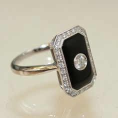 Art Deco, onyx, platinum, and diamond ring From Sublime Mercies Morgan's Pendant: The Cat who Taught an Abused Youth How To Love. http://www.sublimemercies.com/2013/05/morgans-pendant-cat-who-taught-me-how.html #queenvictoria #mourning #victorianmourning