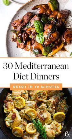 30 Mediterranean Diet Dinners You Can Make in 30 Minutes or Less via vi. 30 Mediterranean Diet Dinners You Can Make in 30 Minutes or Less via via loss plans meal Easy Mediterranean Diet Recipes, Mediterranean Dishes, Mediterranean Diet Breakfast, Diet Food To Lose Weight, Weight Loss, Lost Weight, Weight Gain, Water Weight, Reduce Weight