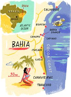 Bahia Map, Brazil - Conde Nast Traveller Magazine - Owen Gatley