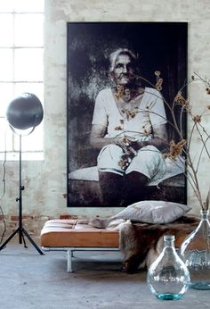 large portrait in living room