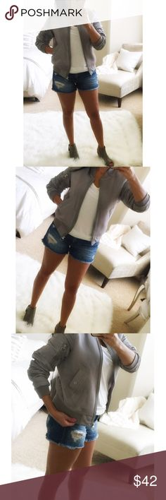 Mesh bomber jacket Sporty and trendy! Silver grey bomber jacket, lightweight, with mesh overlay on torso and ruched detail on sleeves. Perfect transition piece for end of summer to fall. Brand new with tags. Reasonable offers considered. Jackets & Coats