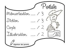 Grille de notation poésie Communication Orale, Cycle 3, Poetry, Teaching, Crayon, Illustration, Chant, French, Maths