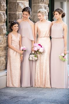 Mix and Match brides mades with romantic blush and rose gold matte sequins dresses