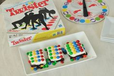 Twister Game Inspired Brownies plus game night ideas
