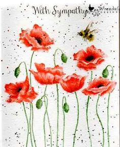 Wrendale Designs Greeting Card with sympathy poppies & bee