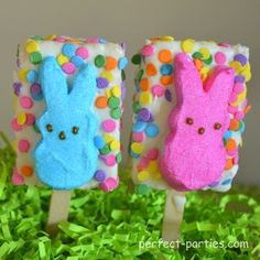 Easter Peeps decorated on rice krispie treats pops.