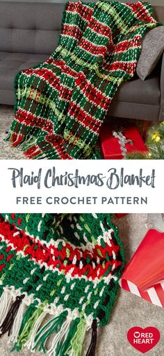 Plaid Christmas Blanket free crochet pattern in Red Heart Super Saver. You'll be thrilled at how easily this crochet plaid throw comes together! First, stitch a meshy base of horizontal stripes. Then, make chains that are woven over and under the mesh to form vertical stripes. Stitch it as shown in Red Heart Super Saver, or make a more generic color version that displays well long after the Christmas season. Easy Knitting Patterns, Crochet Blanket Patterns, Knitting Projects, Crochet Projects, Yarn Projects, Crochet Blankets, Crochet Gifts, Free Crochet, Crochet Stitch