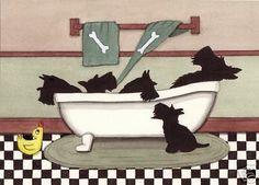 Scottish Terriers Scotties Fill Tub at Bath Time Lynch Signed Folk Art Print | eBay
