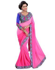 Indian House Impressive Pink Colour Georgette Saree Online At Aimdeals.com - 01