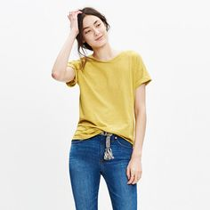 It's no secret, our best-selling crewneck tee (formerly called Slub Crewneck Tee) is the kind of forever favorite you'll want in every color. Fashioned of light and airy slub cotton, this T-shirt is live-in-it soft and perfectly draped—one to tell your friends about, in other words. <ul><li>True to size.</li><li>Cotton.</li><li>Machine wash.</li><li>Import.</li><li>Madewell.com only.</li></ul>