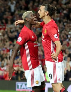 Manchester United's Zlatan Ibrahimovic celebrates scoring his side's second…