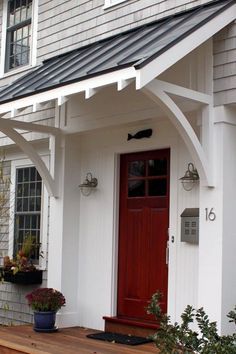 Front Doors: Gorgeous Awnings For Front Door For Modern Ideas. Images Of Front Door Awnings. Copper Awning Over Front Door. Black Awning Over Front Door. Canvas Awnings For Front Door. Wood Awning Over Front Door. Front Door Overhang, Roof Overhang, Patio Overhang Ideas, Black Metal Roof, Metal Roof Colors, Porch Awning, Front Porch Pergola, Front Door Porch, Front Entry