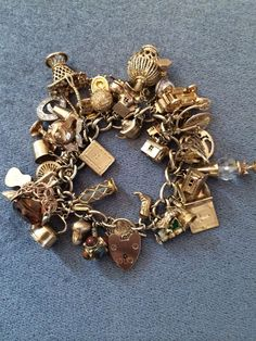 Do you have a charm bracelet? I was given a charm bracelet when I was about 8 years old and. Pandora Bracelet Charms, Pandora Jewelry, Charm Jewelry, Pandora Gold, Necklace Charm, Vintage Charm Bracelet, Vintage Jewelry, Turquoise Jewelry, Silver Jewelry