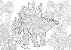 Stegosaurus Dinosaur Dino Coloring Pages Animal Book For Adults Instant Download Print