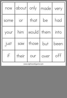 Sight Word Bingo, Sight Words, Bingo Board, Sight Word Games, Literacy Centers