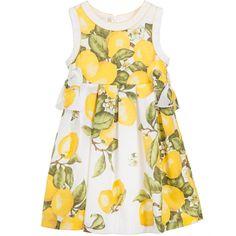White Cotton Lemon Dress, Laura Biagiotti Dolls, Girl