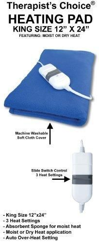 """Therapist's Choice King Size Moist/Dry Heating Pad 12""""x24"""""""