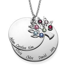 Personalized Family Tree Jewelry - Mothers Birthstone