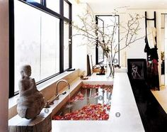 Marvelous asian interior design and decor ideas for modern bathrooms in japanese style I'm trying to see if I can somehow turn my rental's bathroom into a japanese bath house >:D The p . Asian Interior Design, Japanese Interior, Bathroom Interior Design, Asian Design, Japanese Home Decor, Japanese Bath House, Japanese Bathroom, Korean Bath House, Chinese Bathroom