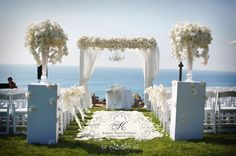 This alter is gorgeous. Dont want flowers wasted on the chairs for ceremony.