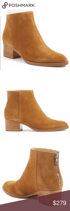 "Rag & Bone New York Wesley Boots Booties Suede New with dust bag Stylish Rag & Bone New York Wesley Boots Booties Suede Sz 9 39. Original: $525.00     Description:  A low, architectural block heel grounds a svelte suede bootie styled with a fashionable almond toe and a sleek back zip for easy on and off.  - Almond toe - Back zip closure - Lightly padded footbed - Block heel - Approx. 4.5"" shaft height, 10"" opening circumference - Approx. 2"" heel - Made in Italy Materials Suede upper, manmade…"