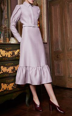 Balloon Sleeve Midi Shirt Dress by CO for Preorder on Moda Operandi
