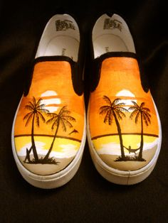 Hand Painted Shoes  Beach by ThreeDesign on Etsy, $145.00