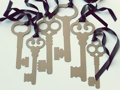 Alice in Wonderland Party Decoration Prop- 6 Large  Intricate Skeleton Keys- Kraft. $19.95, via Etsy.