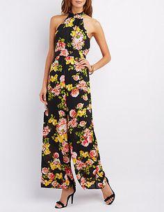 Floral Print Mock Neck Jumpsuit: Charlotte Russe