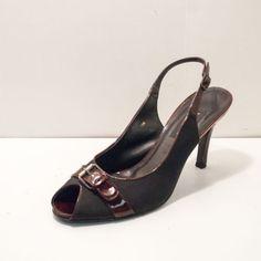 Vaneli Leather Black Brown Peep Toe Slingback Pump Heels Womens Size 10M in Clothing, Shoes & Accessories | eBay