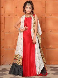 Red Hue Cotton Silk Jacket Style Anarkali Salwar Suit, #girlsanarkalisuits #girlssalwarsuits #indiangirlswear #indianfashionforgirls #girlsindianfashionoutfits,#girlscholisuit #girlsgown #girlsweddingwear
