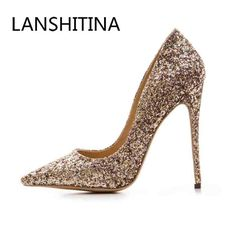Sequined cloth women pumps super high heel sexy shoes Pointed Toe wedding shoes  women pumps Slip 78f257677887