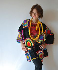 Plus Size Multicolor Crocheted Cardigan by subrosa123 on Etsy, €220.00
