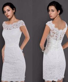 2015 Custom Made Hot Wedding Dresses Sheath Off-Shoulder Lace Short Beach Garden White Bridal Reception Dress with Short Sleeves Party Sheer 2015 new arrival lace short short sleeve lace short wedding dresses sheer lace short wedding dress Short Lace Wedding Dress, Second Hand Wedding Dresses, Garden Wedding Dresses, Wedding Dress Patterns, 2015 Wedding Dresses, Lace Dress, Reception Dresses, Chiffon Dress, Cheap Bridal Dresses